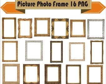 Frame Picture And Photo Clipart PNG Set Digital Files Transparent Scrapbook Supplies Clip Art Instant Download