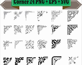 Classic Corner Flowers Leaf Nero Line Border Retro Vector Clipart PNG EPS Set Digital Files Scrapbook Supplies Clip Art Instant Download