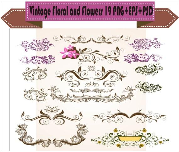 Retro Fall Flower Clip Art Set #2 Digital Download Instant Download 300 DPI PNG with Transparent Background