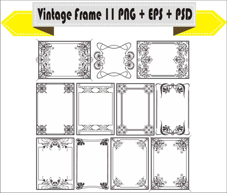 Frames Frame Floral Flowers Vector Vintage Retro Clipart PNG | Etsy