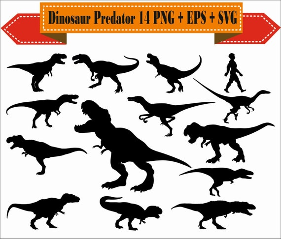 Dinosaure Predateur Chasseur T Rex Raptor Silhouette Vecteur