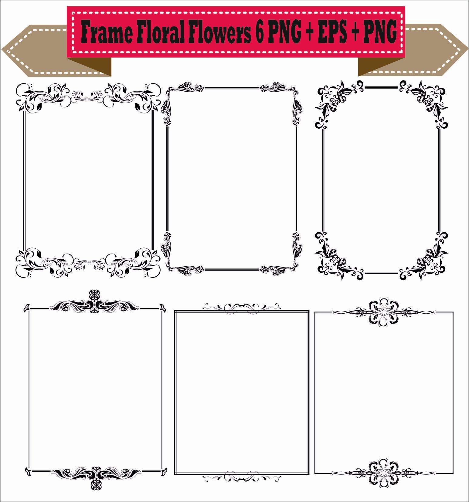 Rahmen Rahmen Blumen Blumen Vektor Vintage Retro Clipart PNG | Etsy