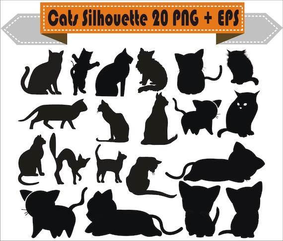Gato Gatos Jugar Pack Silueta Vector Png Clipart Eps Archivos Etsy