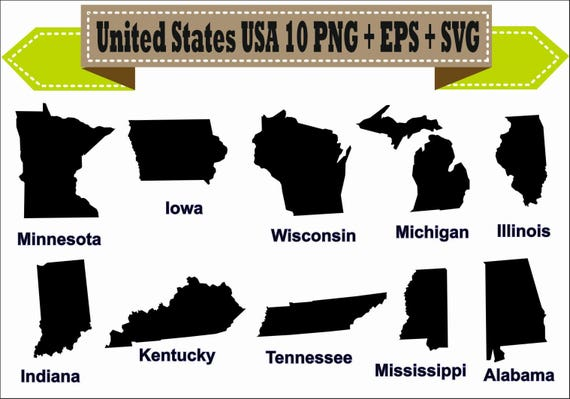 America United States Usa State Map Indiana Silhouette Vector Etsy