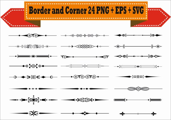 Border Vintage Corner Retro Vector Clipart PNG EPS Set Digital Files Transparent Scrapbook Supplies Clip Art Instant Download