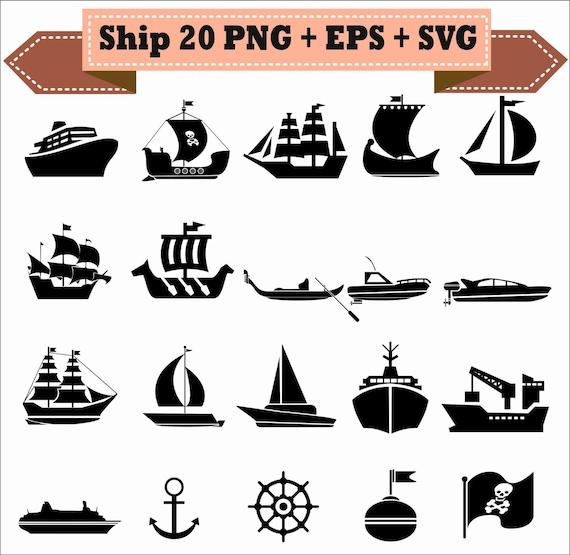 Barco lancha ancla barco pirata timón silueta Vector Clipart