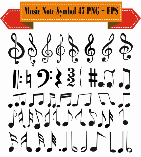 Music Note Sol Key Sheet Symbols Vintage Motif Pack Silhouette Etsy