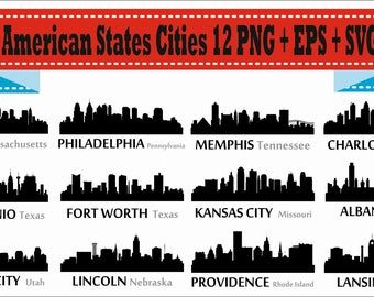 American Cities City Boston Memphis Lincoln Silhouette Vector Clipart PNG EPS SVG Digital Files Scrapbook Supplies Clip Art Instant Download