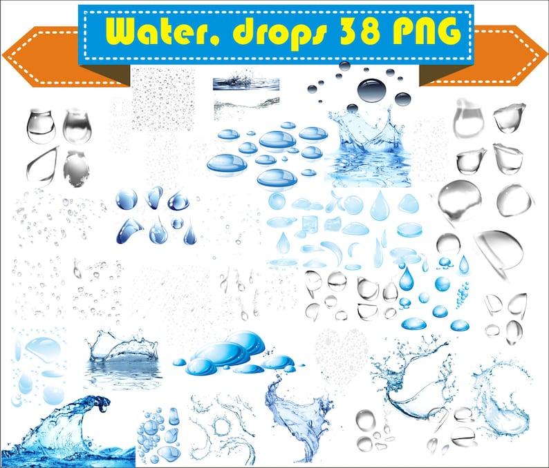 Water Drop Drops Clipart PNG Set Digital Files Transparent image 0