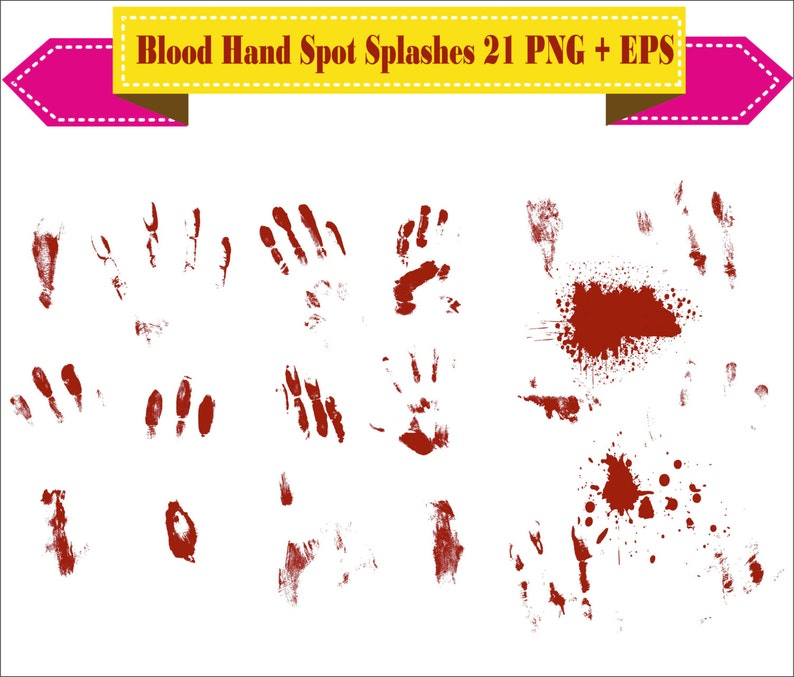 Blood Hand Print Spots Open Crime Bleed Splashes Wound Clipart EPS Digital  Files Transparent Scrapbook Supplies Clip Art Instant Download