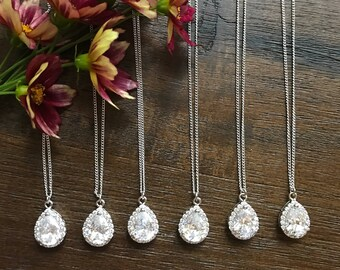 Teardrop Bridesmaid necklace set of 6, Cubic Zirconia teardrop necklace, bridesmaid Jewelry