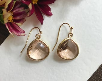 Bridesmaid gift, Peach and gold earring, bridesmaid earring, bridesmaid jewelry