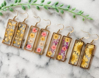 Dried flower Earrings, Boho flower earring, Boho bridesmaid