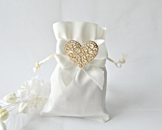 White And Gold Wedding Favor Bag Wedding Favor Bags Satin Etsy