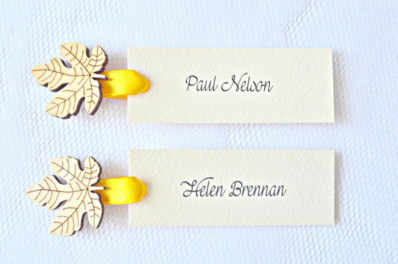Mustard yellow wedding decor leaf place cards Name tags with wooden leaf yellow name tags set of 20 fall wedding decor Fall name tags