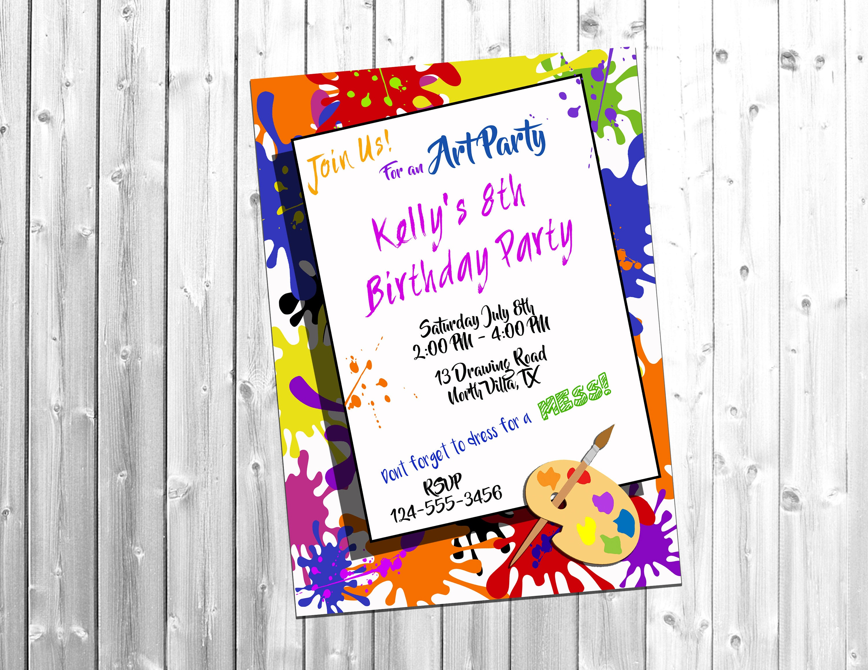 Paint Party Art Party Art Birthday Party Party Invite | Etsy