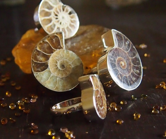 Cocktail Ring Ammonite 925 Sterling Silver Boho Handmade Jewelry for Women
