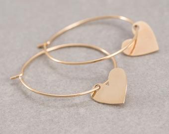 Hoop earrings, Heart pendants, Chic Earrings
