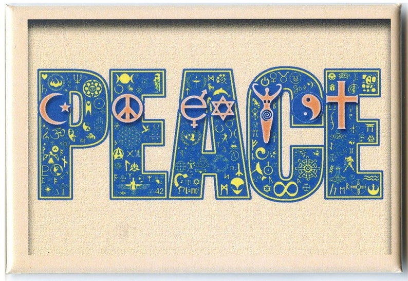 FM084 - Coexist in Peace Interfaith Symbol Mosaic Fridge Magnet