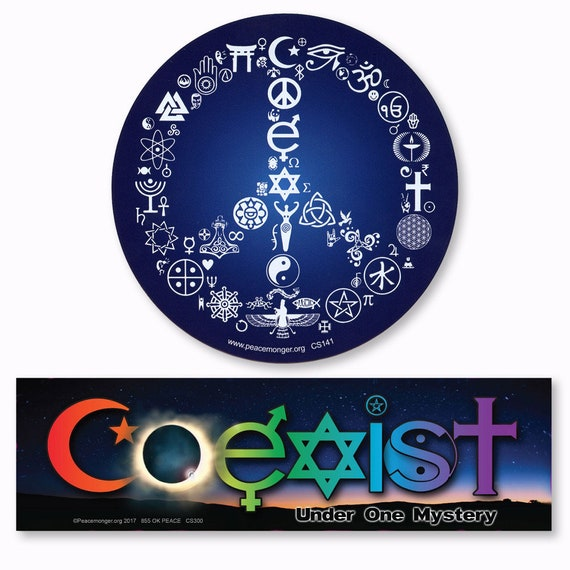 Cs141 300 Coexist Peace Symbol And Coeclipse Under One Mystery Etsy