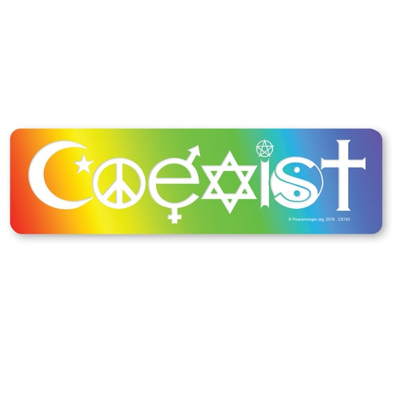 Cs193 Coexist In A Rainbow Interfaith Symbols Sticker Or Etsy