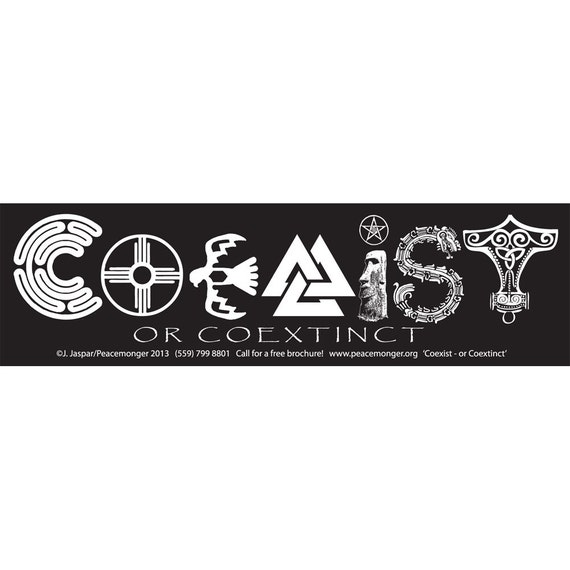 S544 Coexist Or Coextinct Large Bumper Sticker Or Magnet Etsy