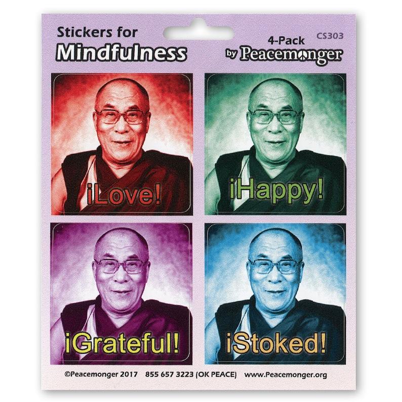 OR MAGNET Happy Love Dalai Lama Stoked Color Mini Sticker Buddhism Tibet Monk Positive Happy Quote Color Sticker Grateful CS303