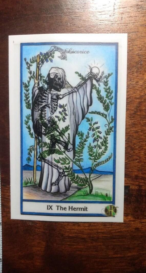 Dancing Skeleton Hermit Tarot Sticker