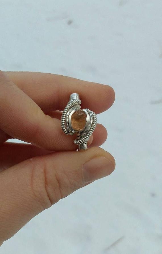 Hessonite Garnet Ring~sterling silver~size 8