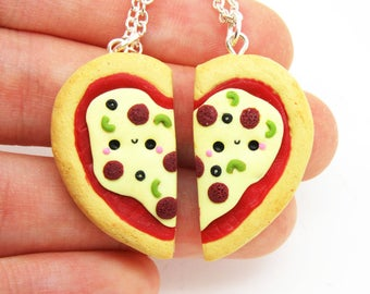 Kawaii Pizza Best Friend Necklaces, Kawaii Pizza BFF Set, Best Friend Set, Best Friend Jewelry, Best Friend Necklace for 2, Miniature Food