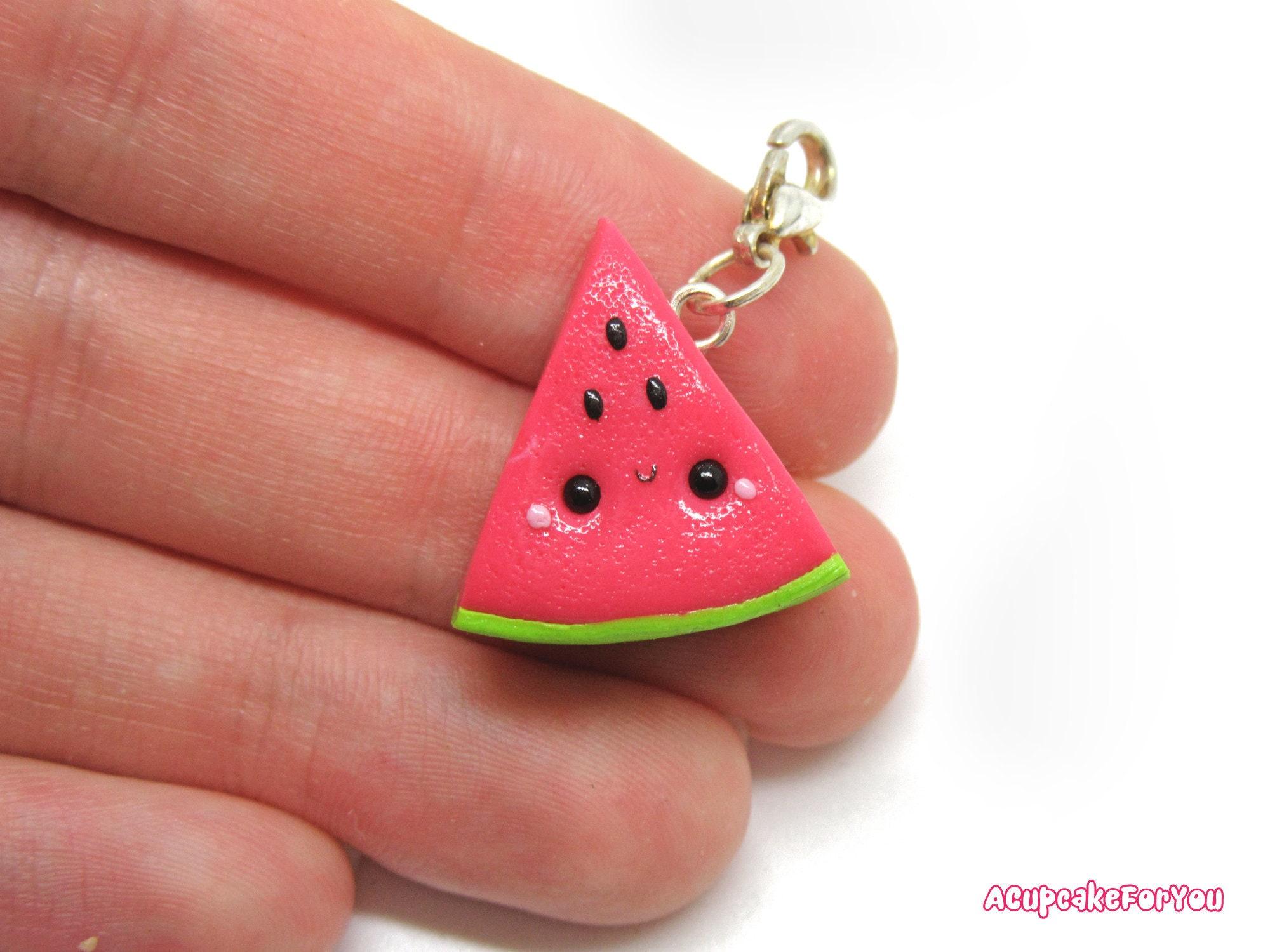 Kawaii watermelon charm watermelon stitch marker kawaii clay   Etsy