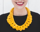 The Egg Recycled Cotton Necklace in Yellow, Textile Crochet Knotted Neckpiece Soft Jewelry Knotted Necklace, ContemporaryJewelry NODO