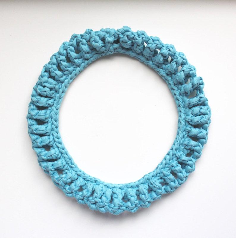 The O Recycled Cotton Statement Necklace in light blue Textile Crochet Neckpiece statement jewelry  NODO