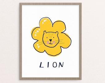 Lion Nursery Art, Cat Nursery Art, printable nursery Art, Downloadable Print, Wall Print, Nursery Print, Printable Art, Nursery Decor