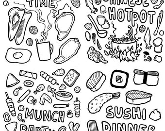 Sushi Colouring Page Illustration Menu Print