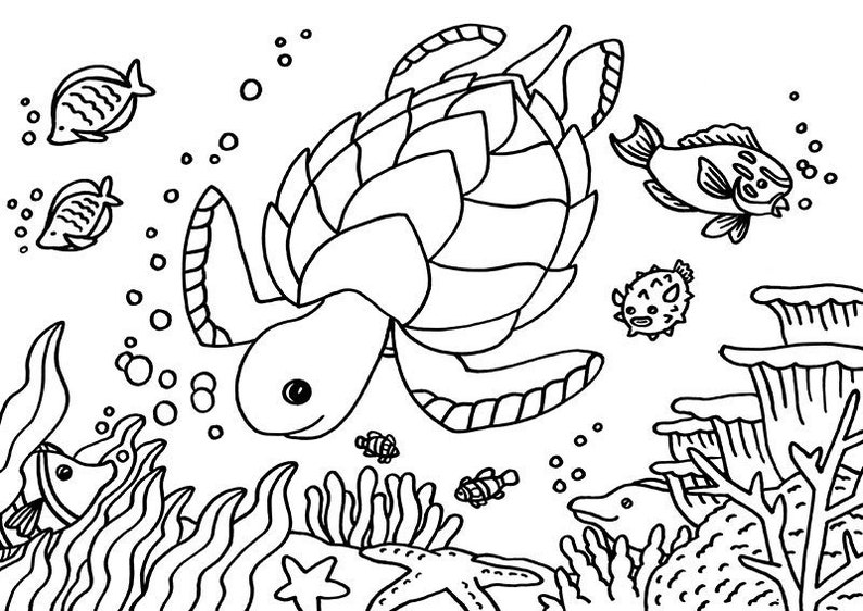 Sea Turtle Colouring Page A4 Sea Tortoise Colouring Page Etsy