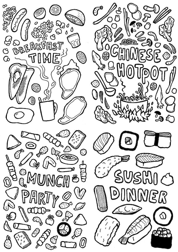Foodie Colouring Page Sushi Snacks
