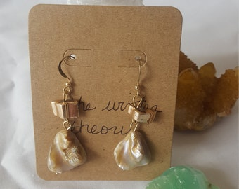 Mother of Pearl Gold Dangle Earrings on Gold Ear Wires