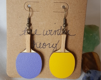 Wooden Purple and Yellow Ping Pong Paddle Earrings