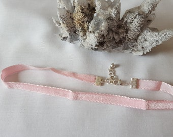 Thin Light Pink Velvet Choker