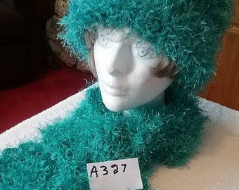 Jade Blue Fuzzy Scarf and Hat Set