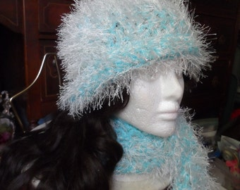 Light Blue Fuzzy Crochet Beanie Hat and Scarf Set