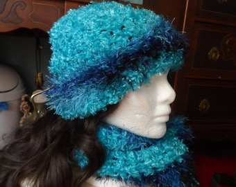 Blue Fuzzy Winter Crochet Beanie Hat and Scarf Set