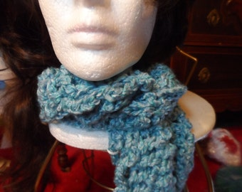 Soft/Baby Blue Thick Winter Crochet Scarf
