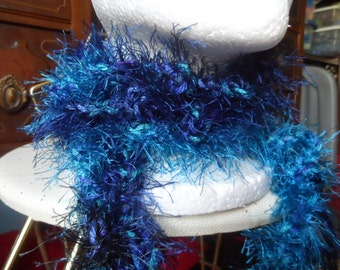 Shades of Blue Fuzzy Crochet Boa Scarf
