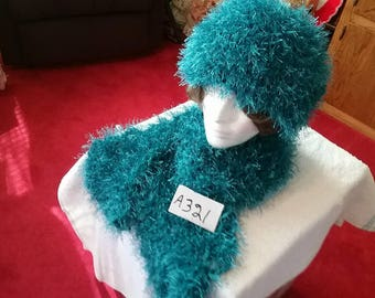 Aquamarine Blue Fuzzy Scarf and Hat Set