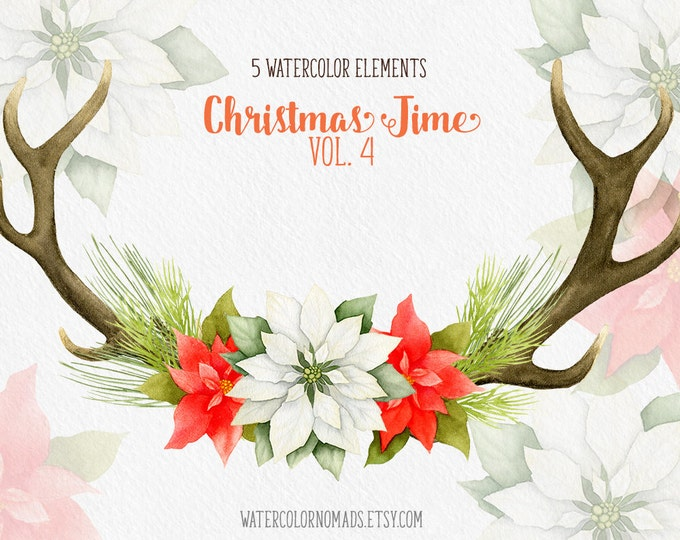 Christmas clipart, winter clipart, deer antlers, antlers clipart, poinsettia, pine, clip art, holiday clipart, watercolor, instant download