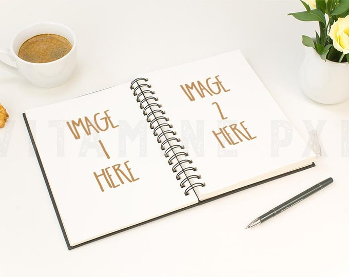Notebook Mockup, sketchbook mockup, planner mockup, styled photography, artwork mockup, stock photo, product mockup,  spiral book mockup