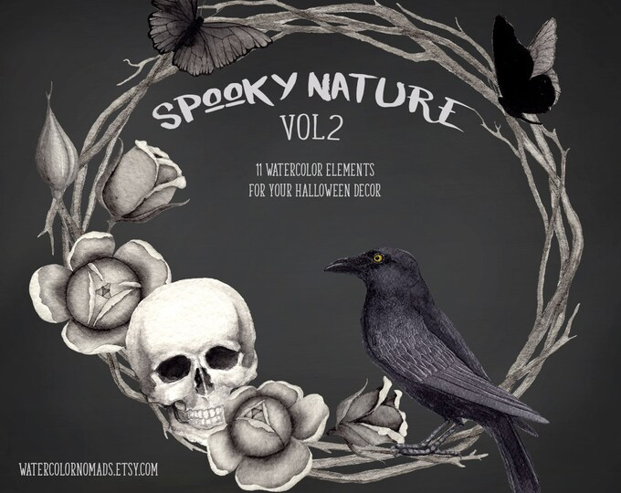 Watercolor clipart, raven, halloween clipart, spooky clipart, gothic clipart, skull clipart, black roses, thorns wreath, butterfly, raven
