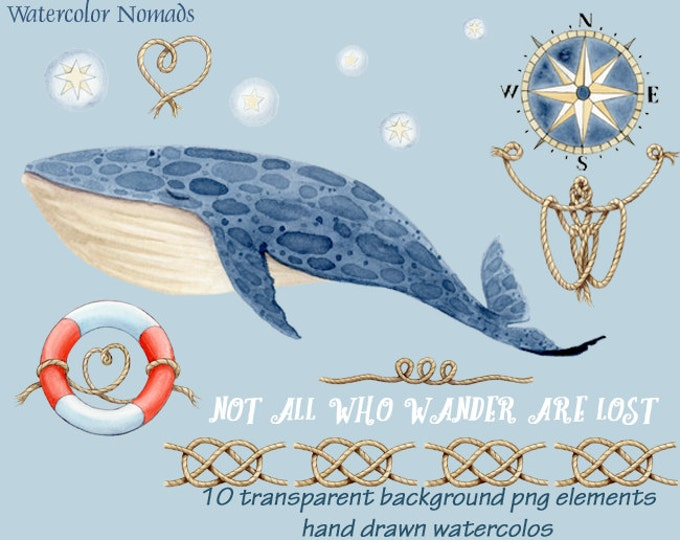 Whale Clipart, Watercolor clipart, Watercolor whale, nautical clipart, sailors knots, compass rose, digital clipart, instant download